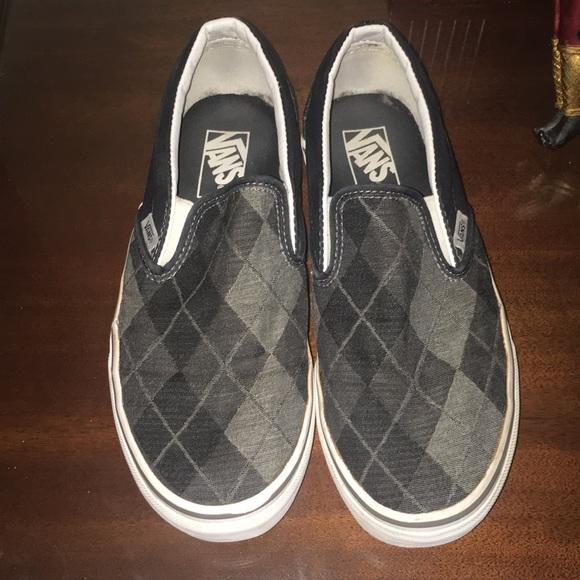 021aaa919d6376 Vans Gray Black Canvas Argyle Slip Ons Women s 8.5.  M 5a83d03bb7f72bcd220099dd